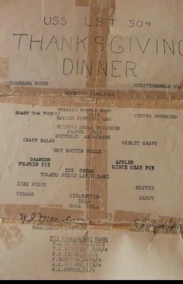 USS LST 504 Thanksgiving menu 1944