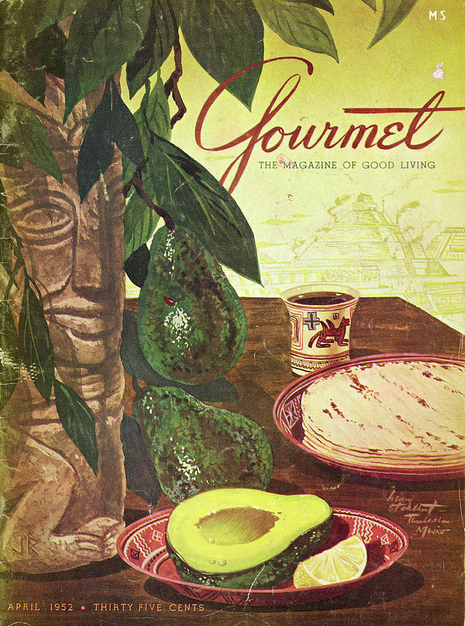 1952 April Gourmet Magazine showing avocados