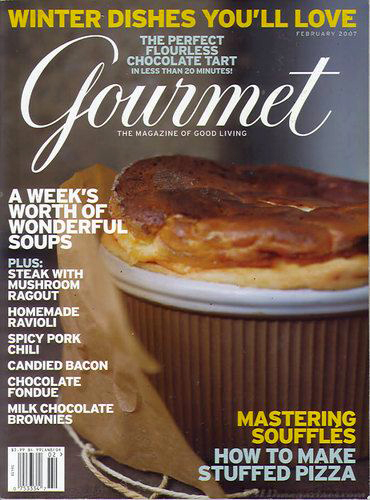 Gourmet Magazine February 2007, text-cluttered cover