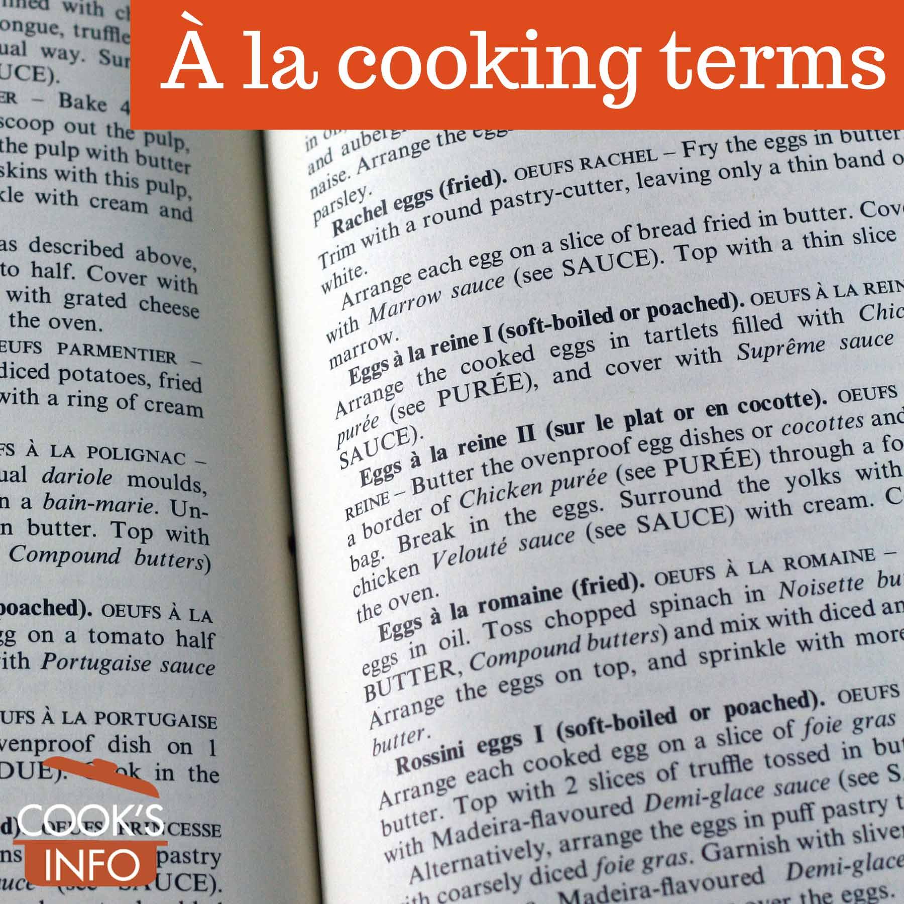 À la Cooking Terms List