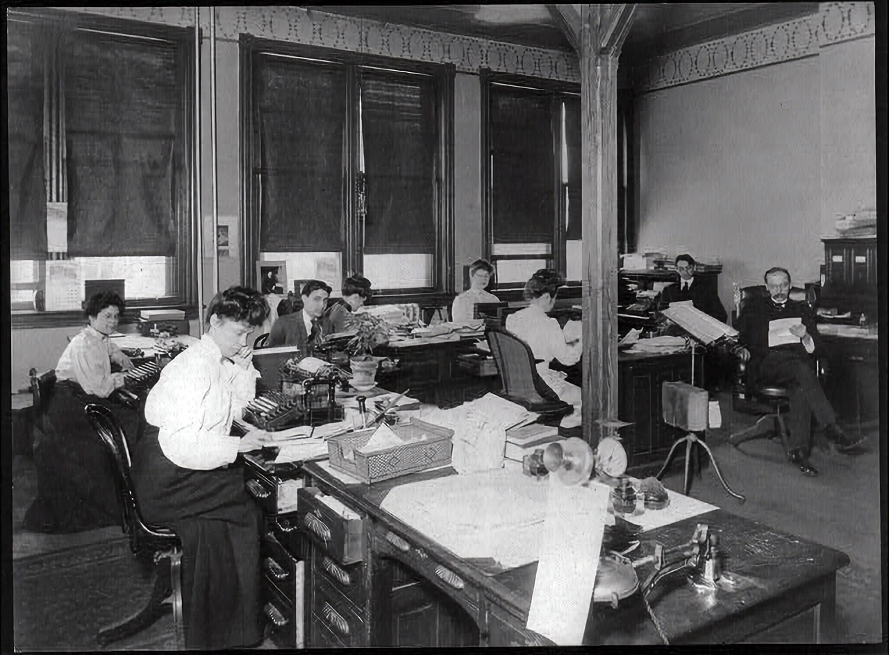 U.S. Bureau of Chemistry activities, clerical staff at work in office