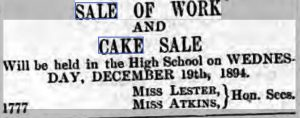 Bake sale Ireland 1894