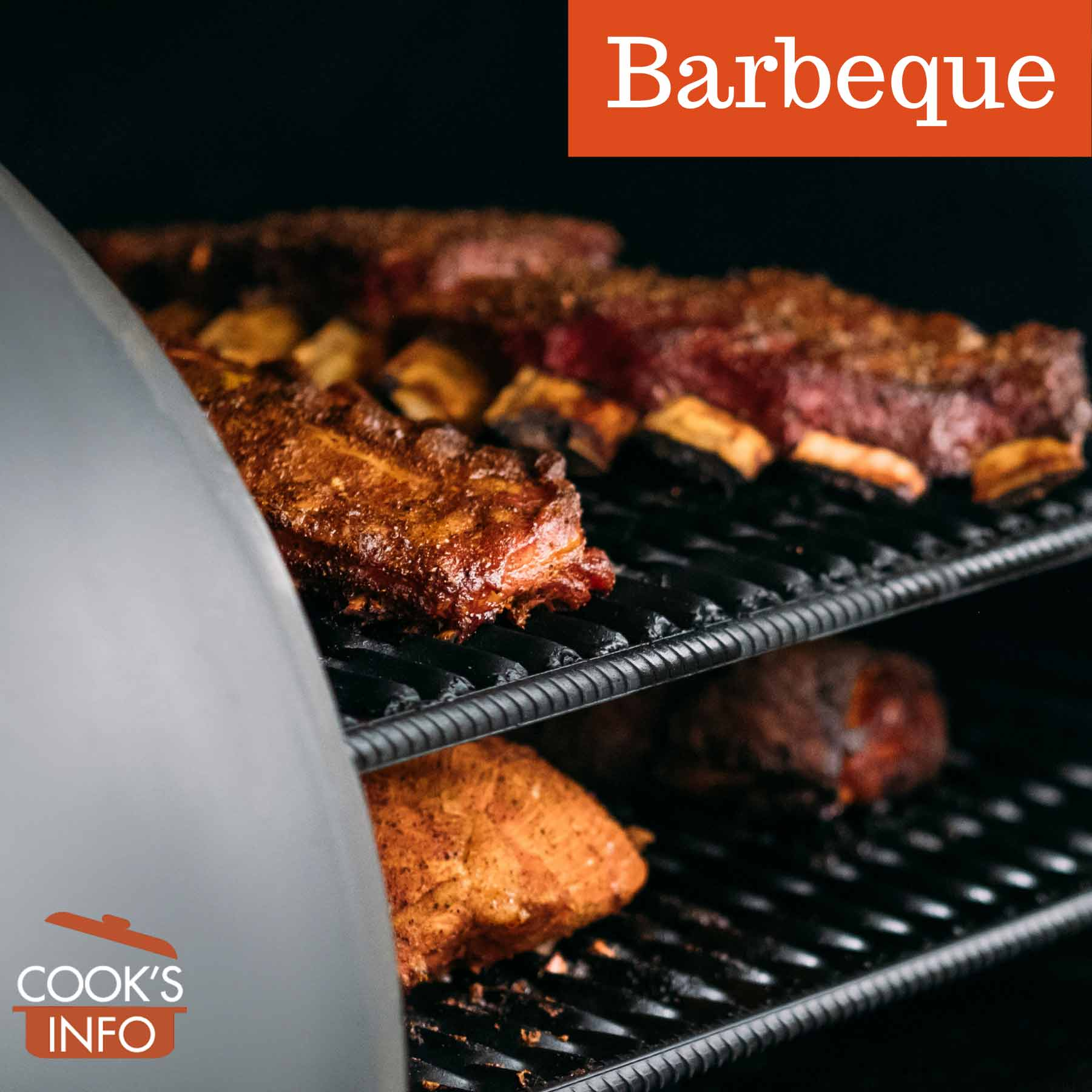 Barbequing cuts of meat in a smoker