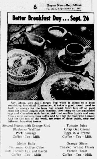 Better Breakfast Day. Boone News Republican, 24 September 1957, page 6.