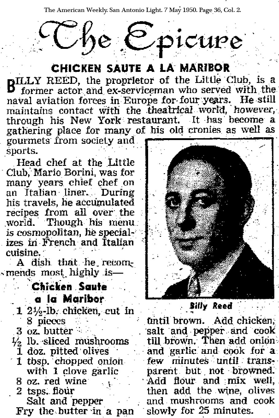 Recipe for Chicken Sauté a la Maribor showing photo of Billy Reed