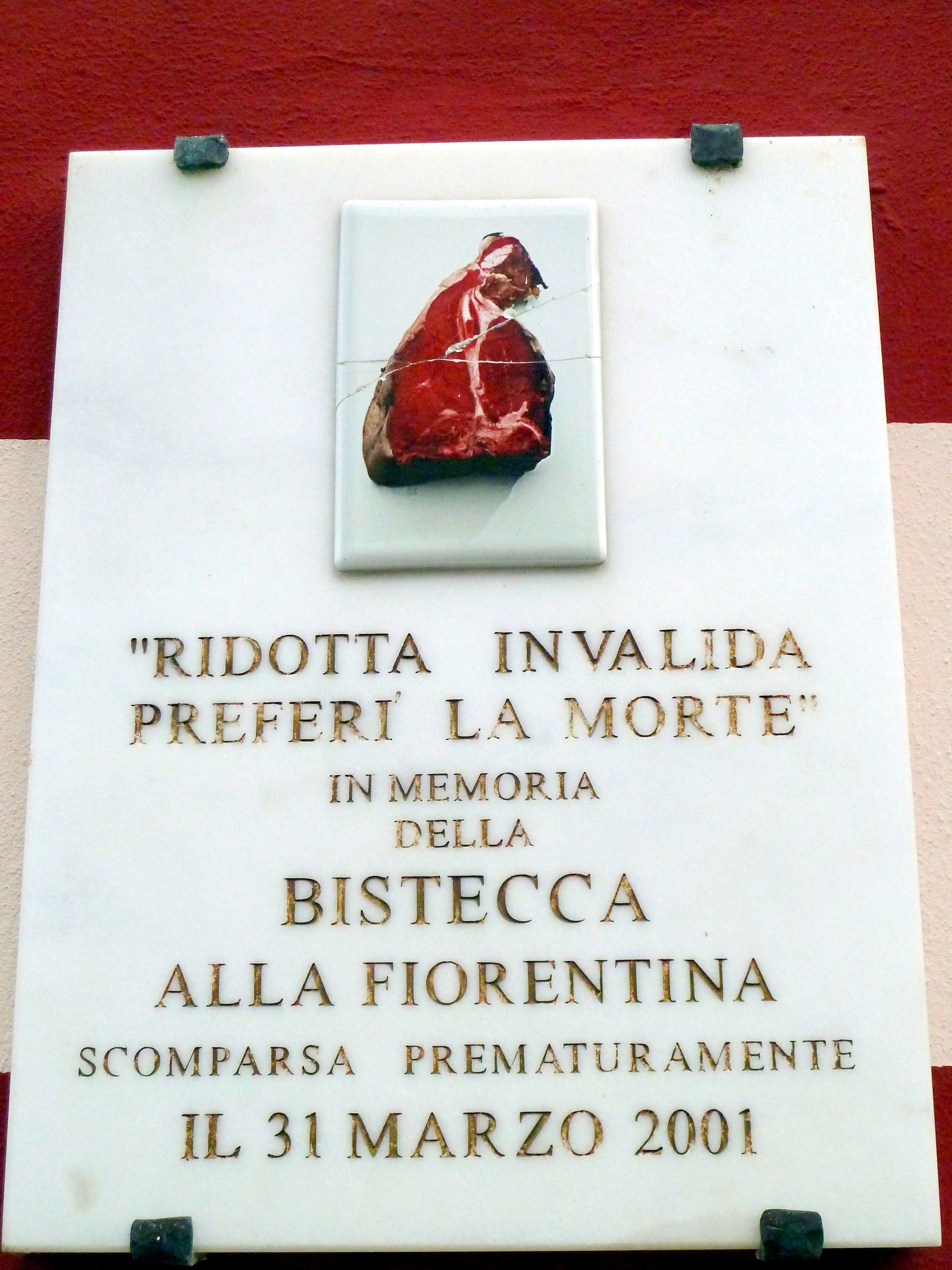 Sign erected during time of bistecca alla fiorentina ban
