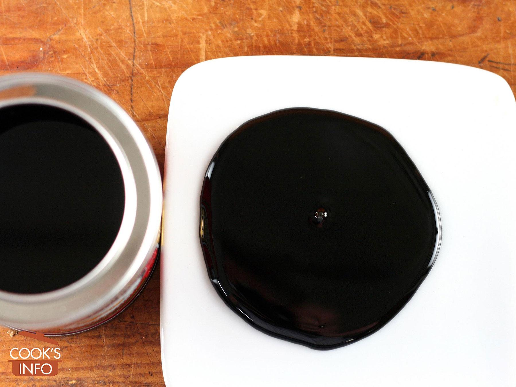 Black treacle on plate