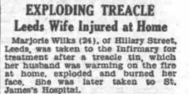 Exploding treacle. Leeds wife injured at home