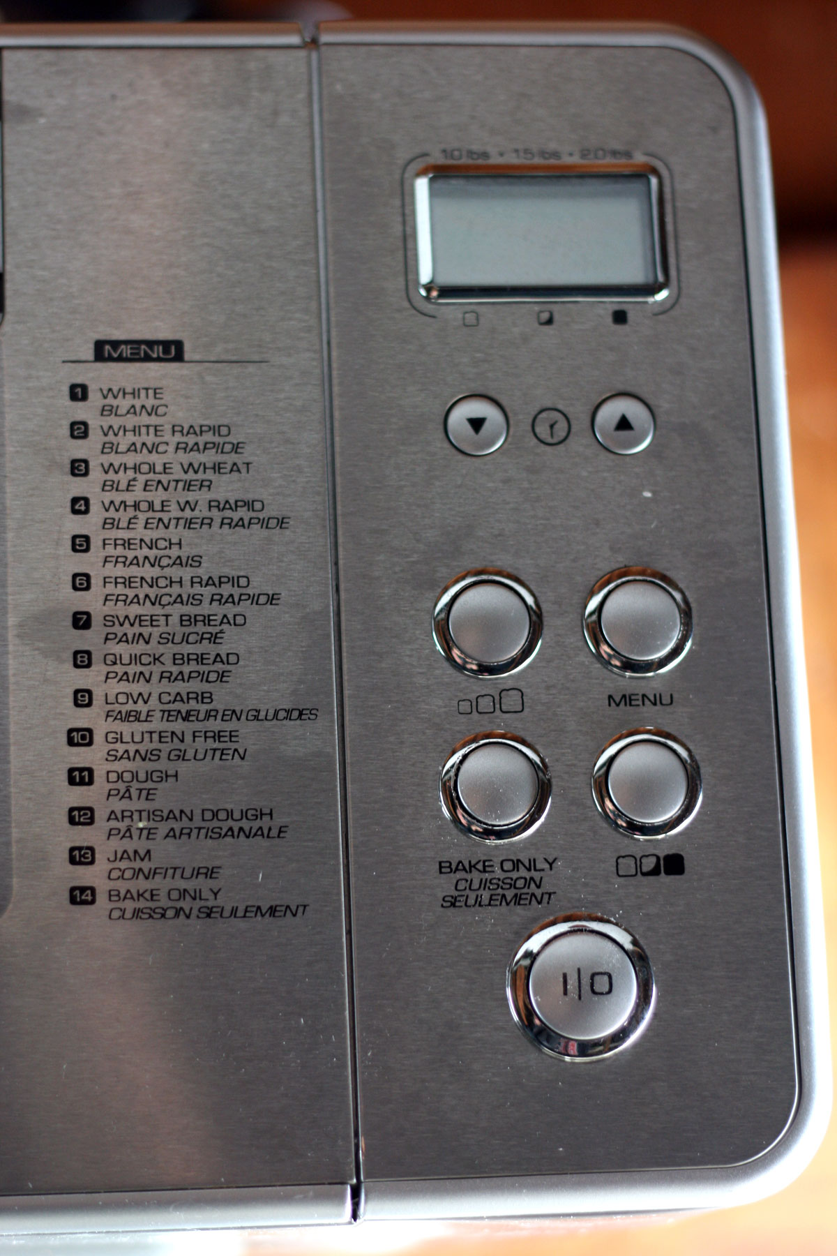 A bread machine control panel.