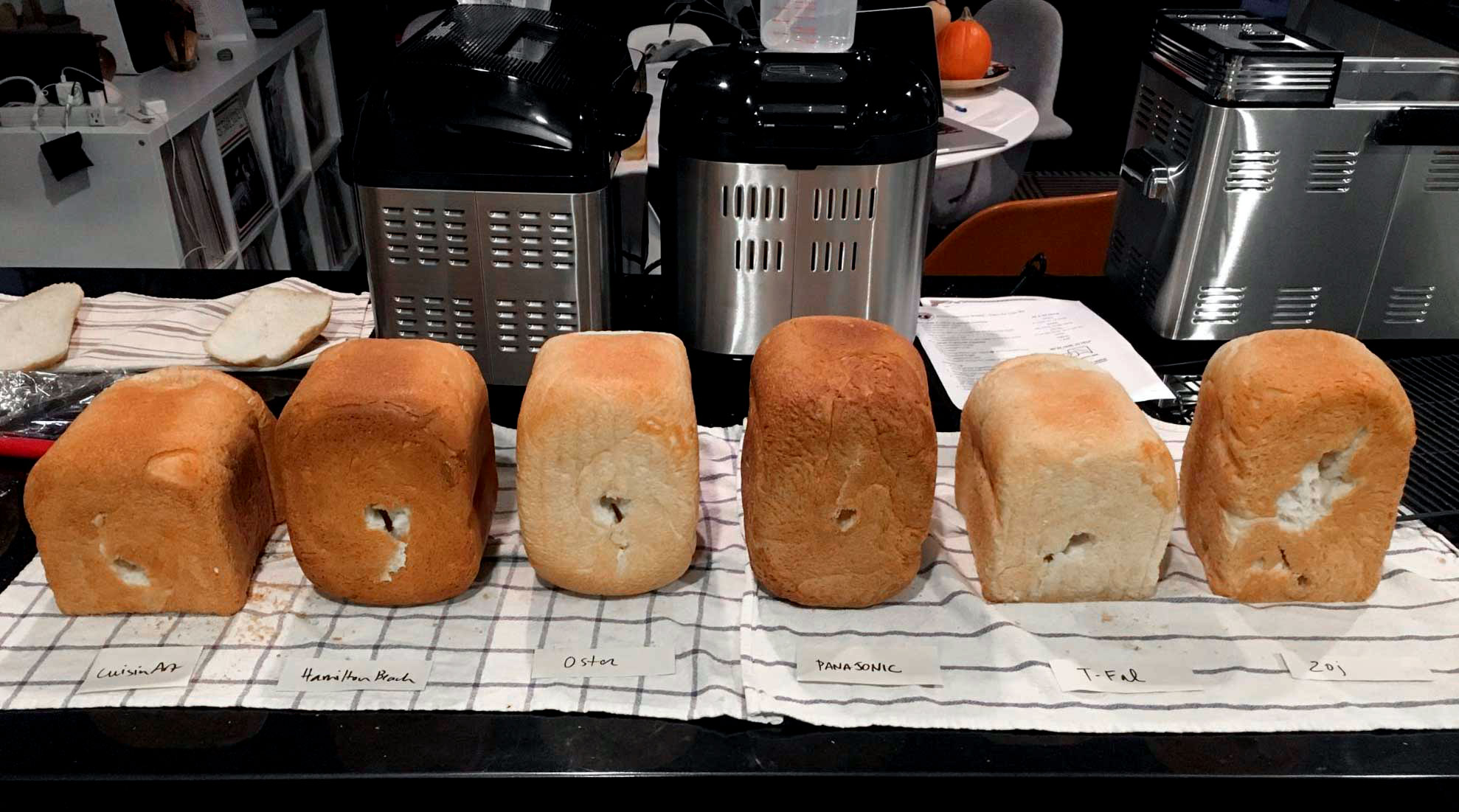 Holes in bottom of loaves of bread from various models of bread machines.