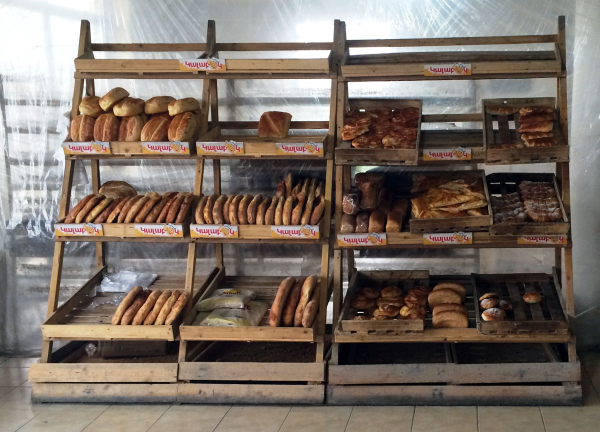 Bread rack at bakery in Armenia