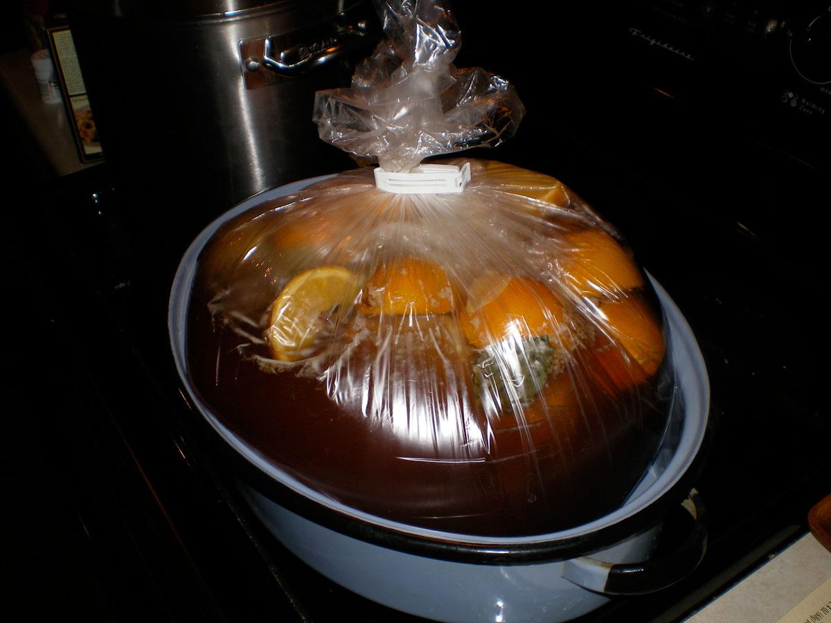 Turkey ready for brining in roasting bag