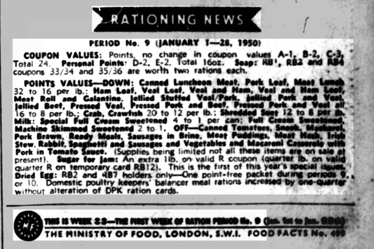 Rationing Changes UK 2 January 1950