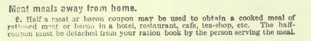 Mention of ration coupons required at restaurants