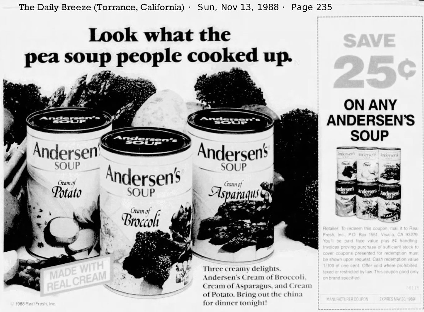 1988 advertisement for Andersen's Cream of Broccoli Soup