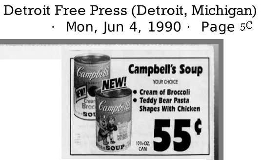 4 June 1990 advertisement cream of broccoli soup