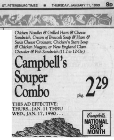 11 January 1990 advertisement frozen cream of broccoli soup