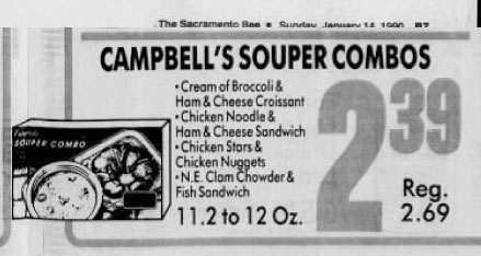 14 January 1990 advertisement frozen cream of broccoli soup