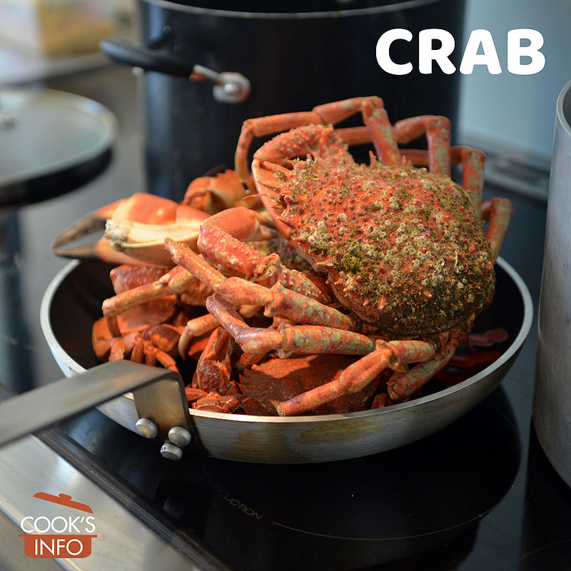 Crab in pan