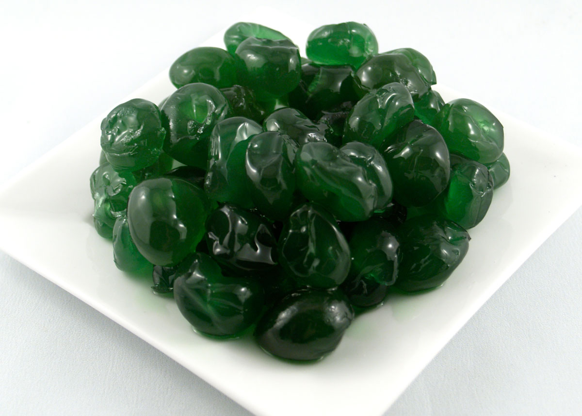 Green candied cherries