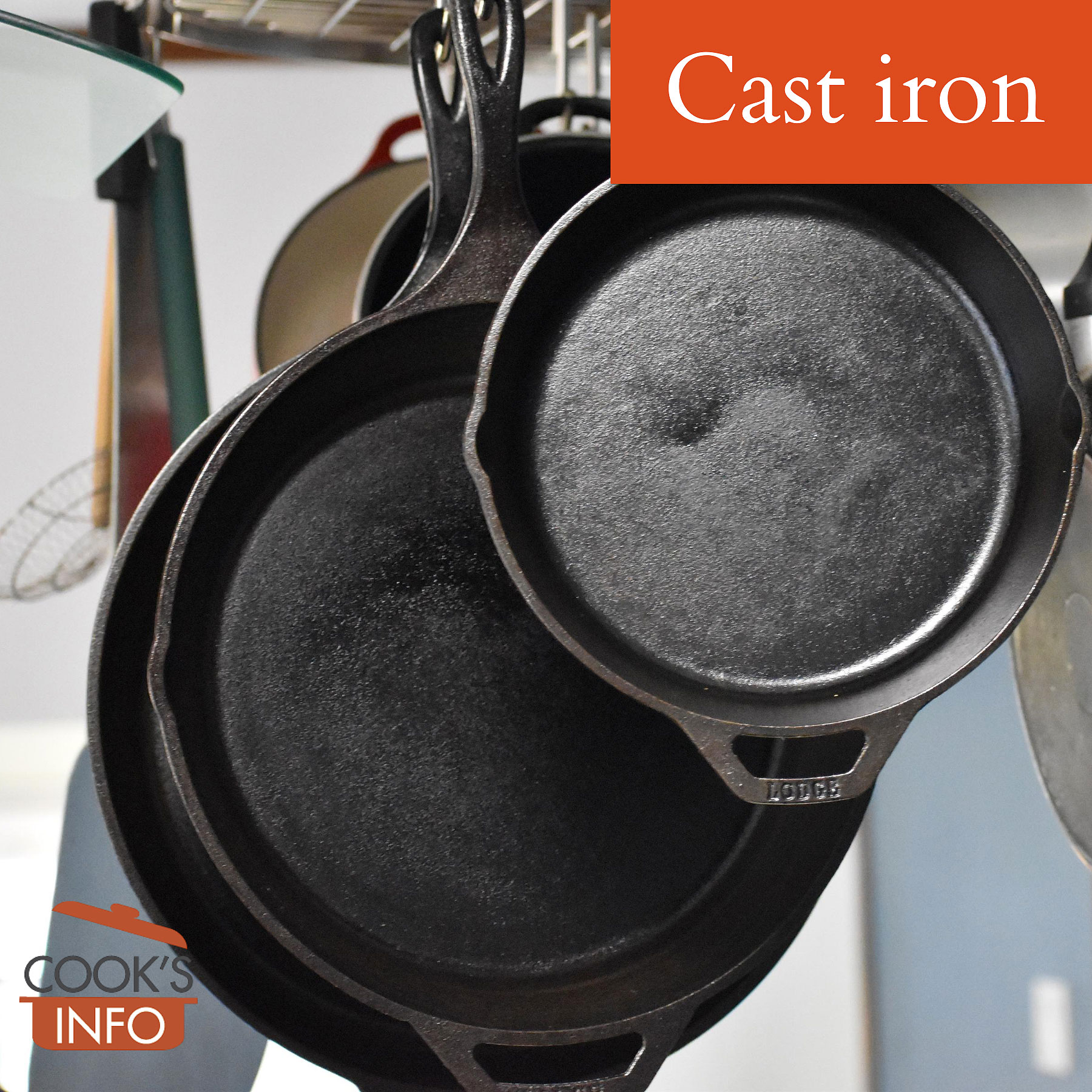 Cast iron frying pans.