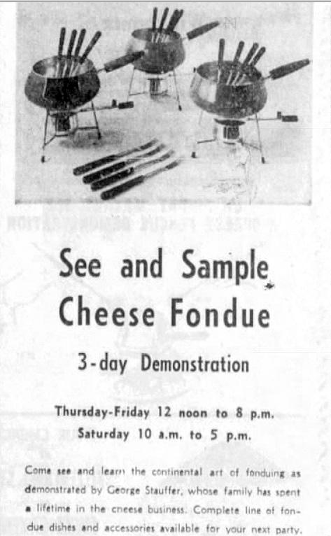 Fondue set demonstration 1966 Wisconsin
