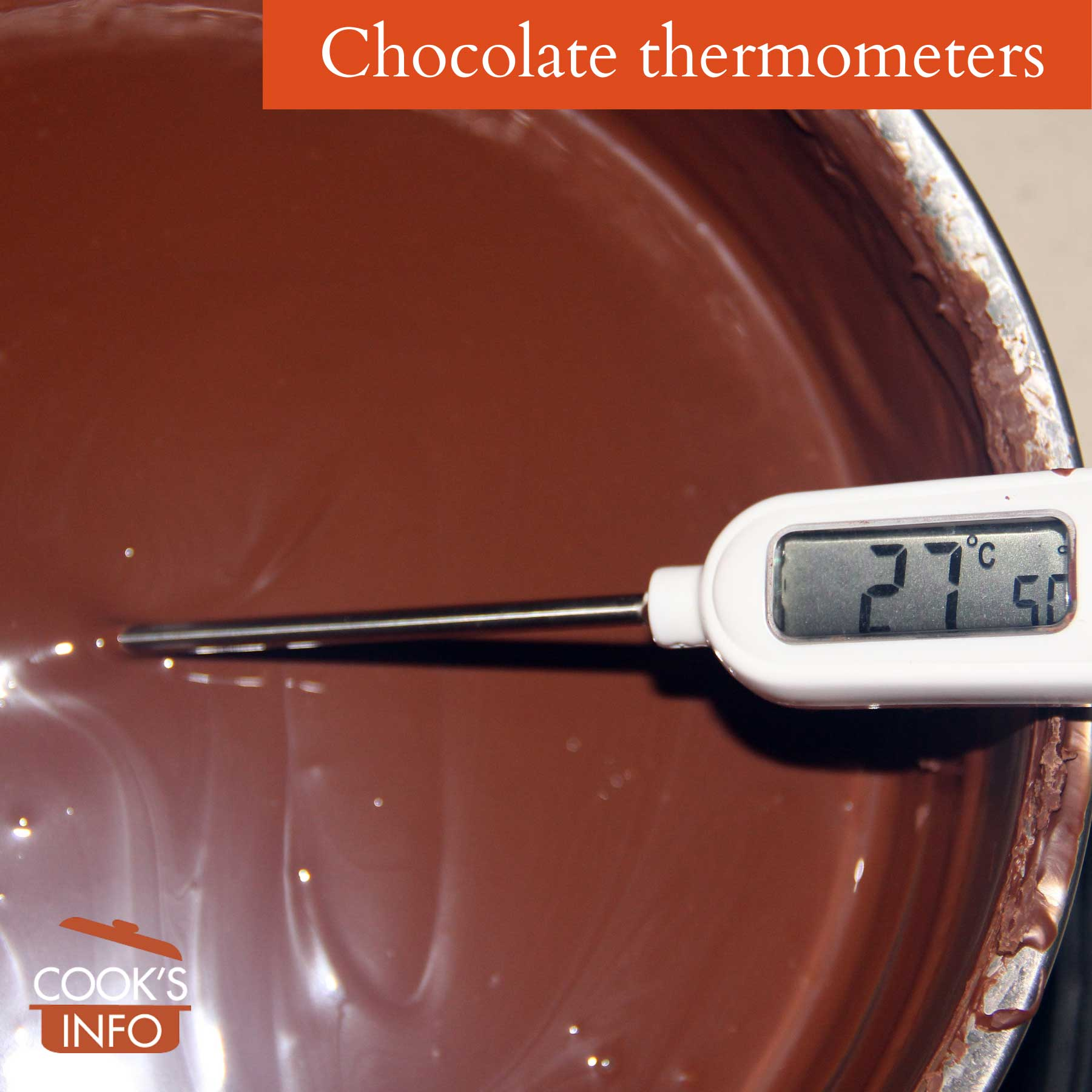Taking the temperature of chocolate being melted