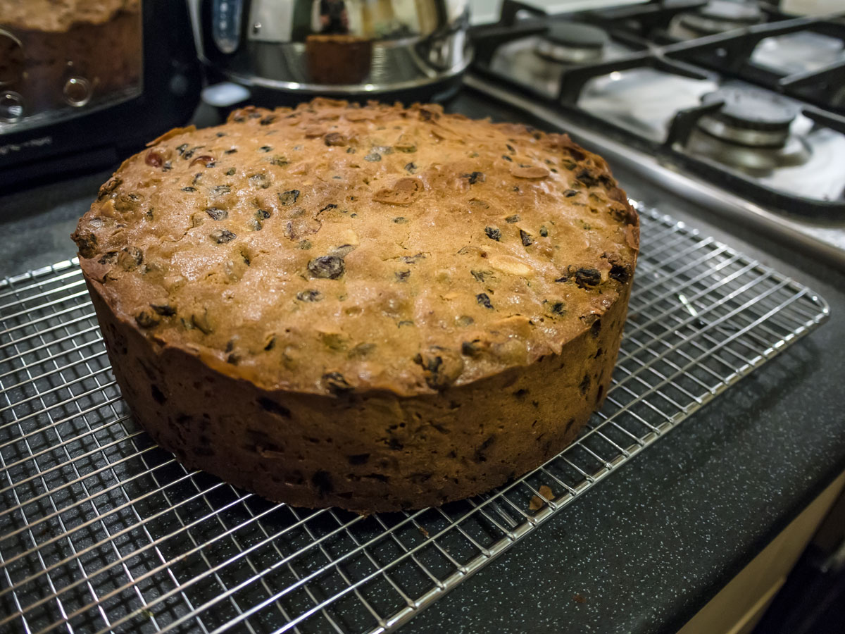 Christmas cake cooling from oven