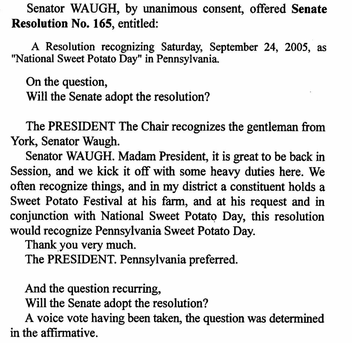 National Sweet Potato Day proclamation