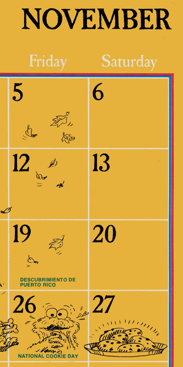 Sesame Street calendar - November extract