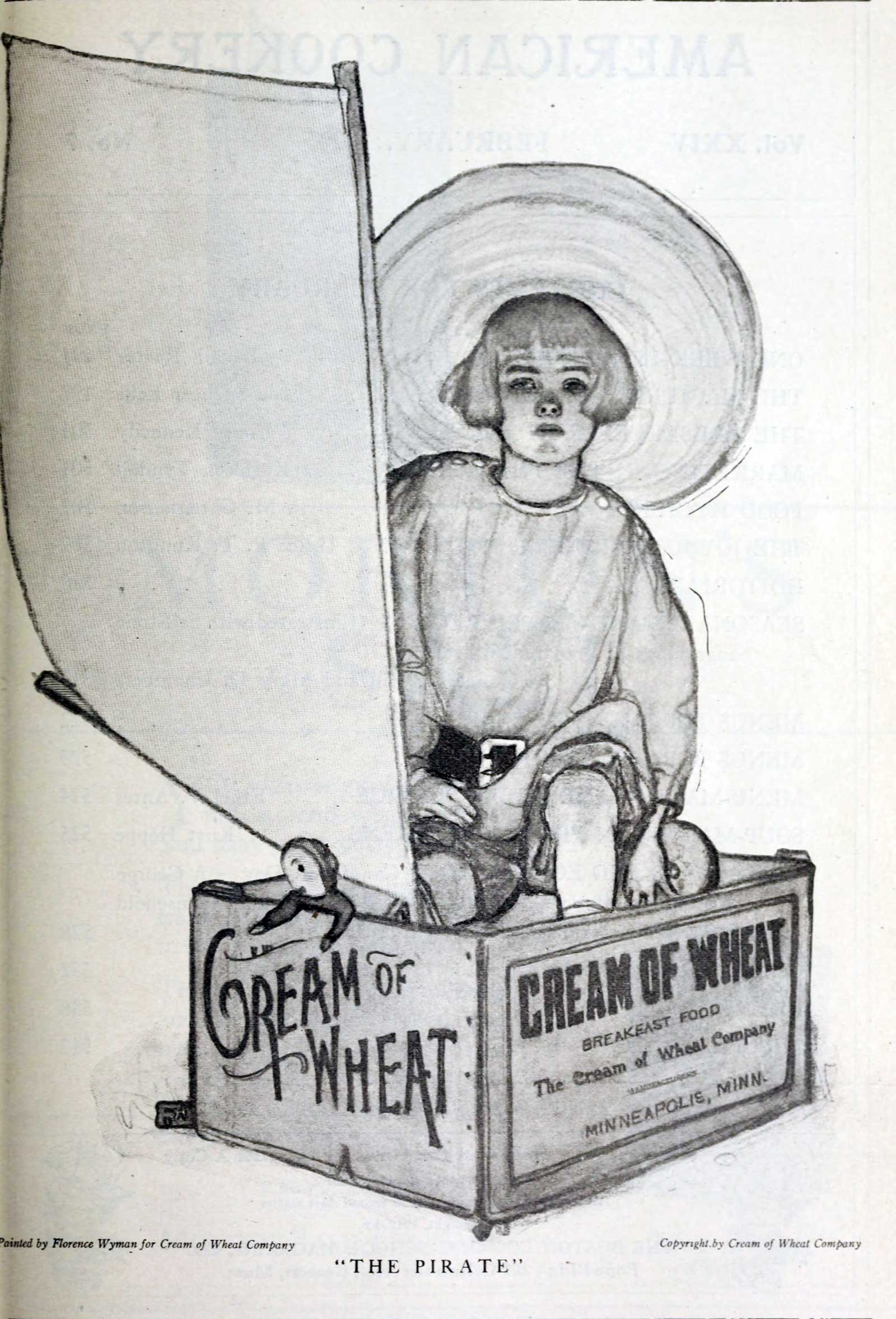 Cream of wheat, boy playing in a shipping crate