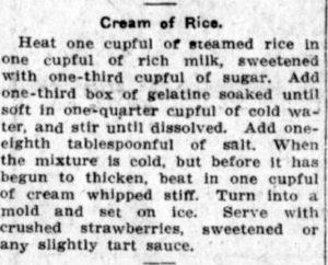 Cream of rice pudding.