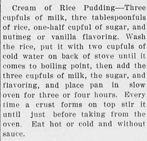 Cream of rice pudding