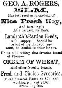 1886 ad for Cream of Wheat