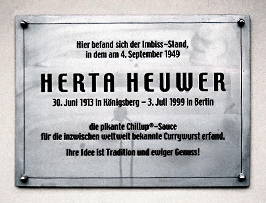 Herta Heuwer memorial plaque for currywurst