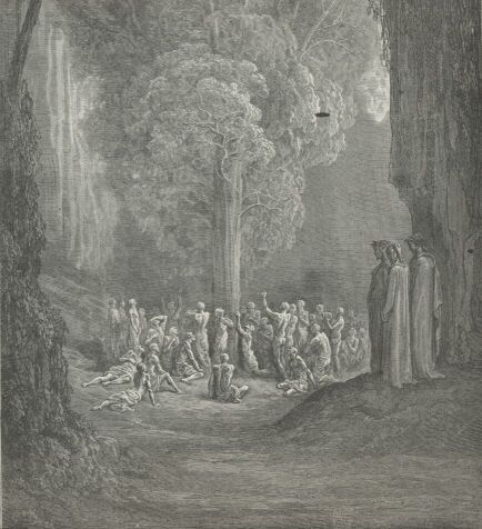 People reaching for fruit on tree in purgatory.