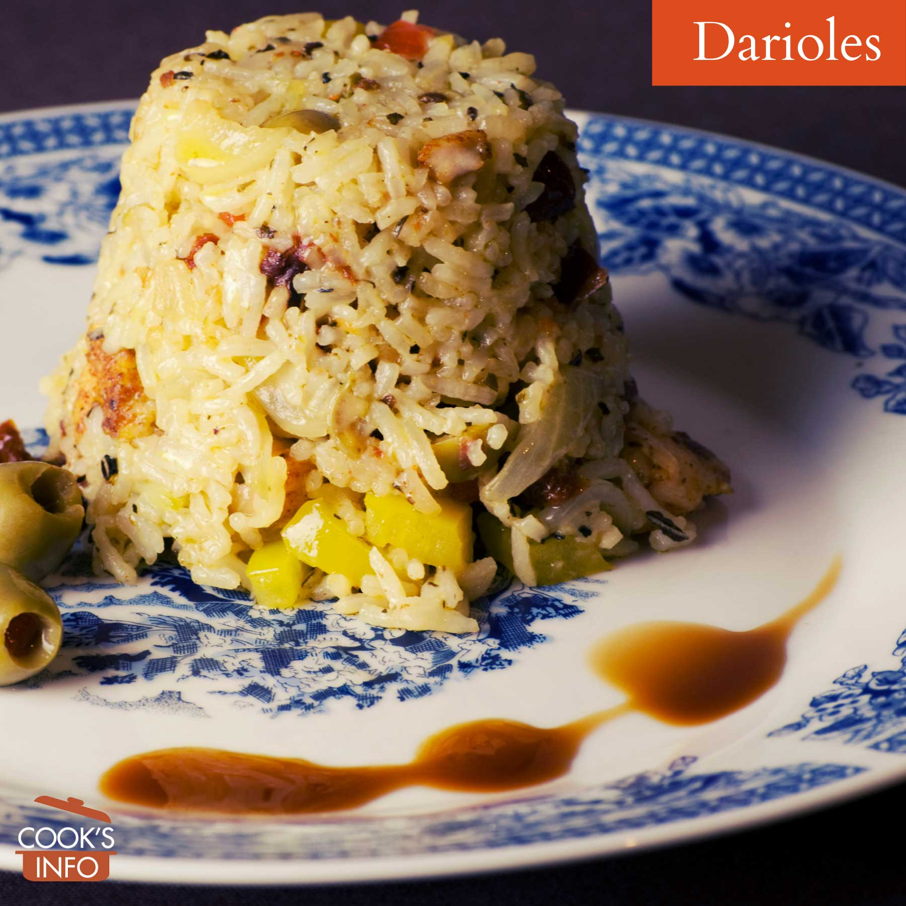Rice moulded in dariole shape
