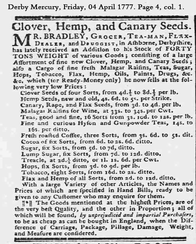 Treacle ad 1777