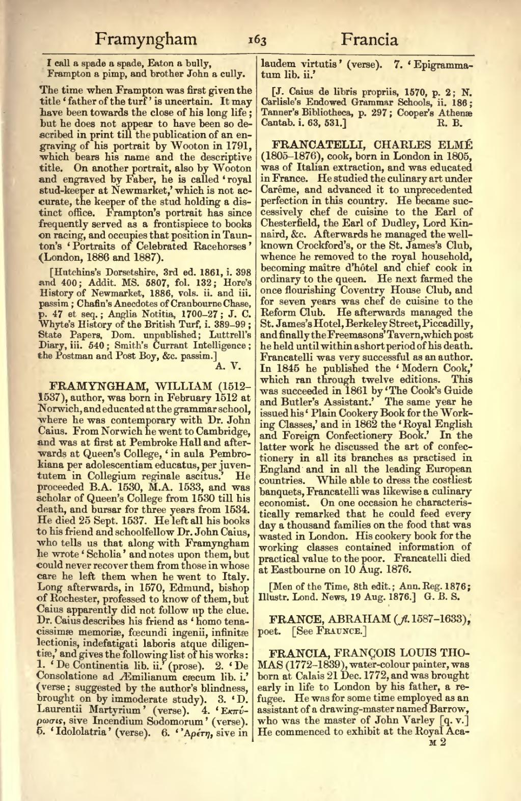 Francatelli's entry in: Dictionary of National Biography