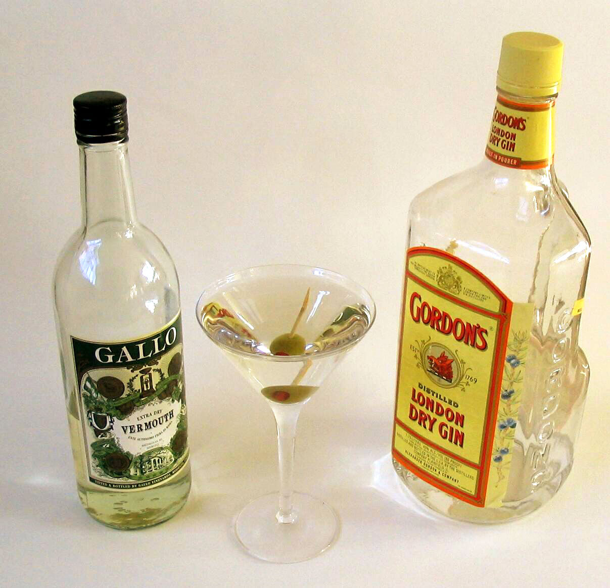 Classic dry martini ingredients