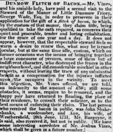 Chelmsford Chronicle 1832 flitch trials