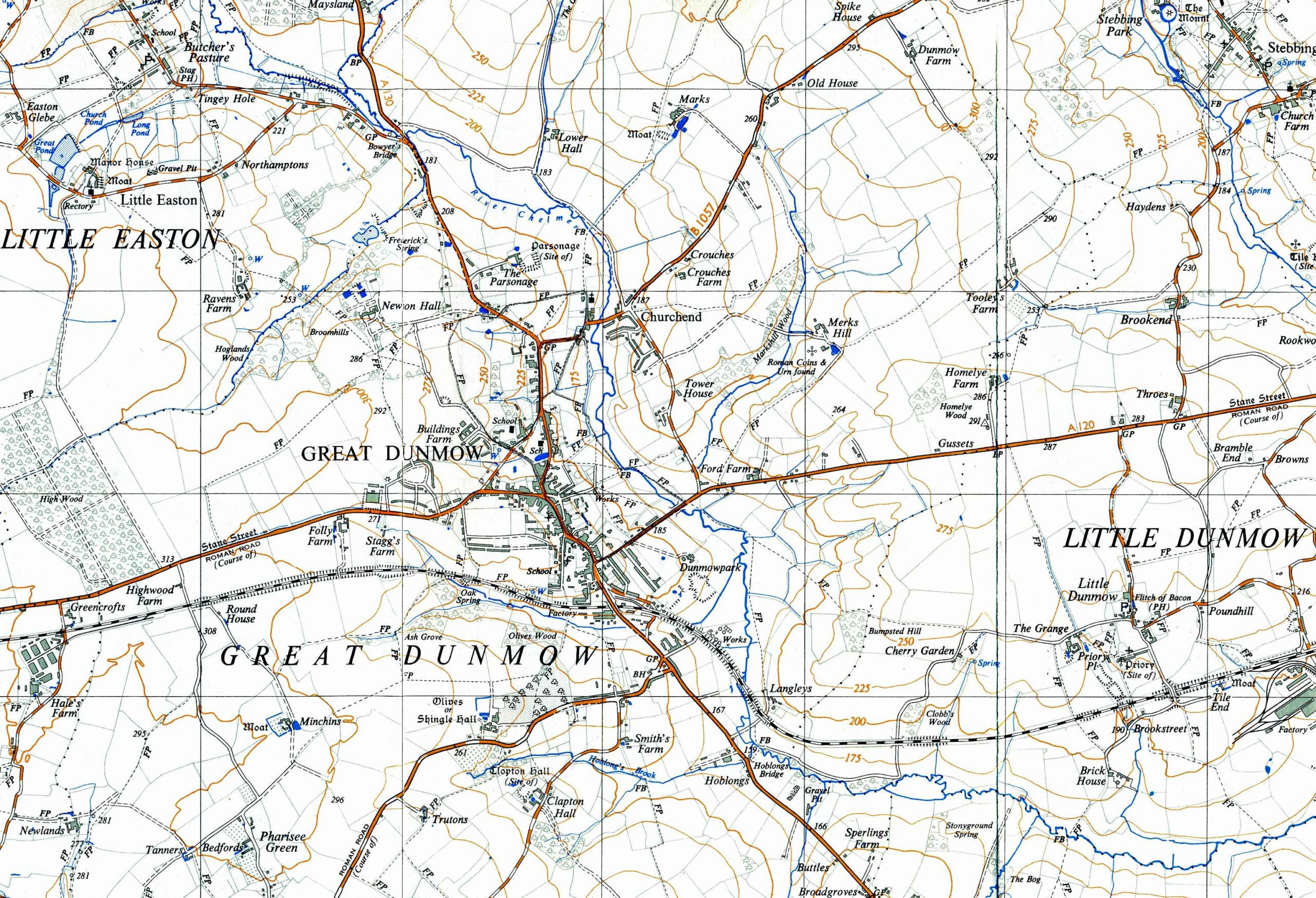 Dunmow, Great and Little. Ordnance Survey map extract.
