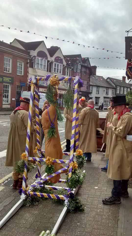 A flitch of bacon, suitably displayed and decorated, ready for the day's processions.