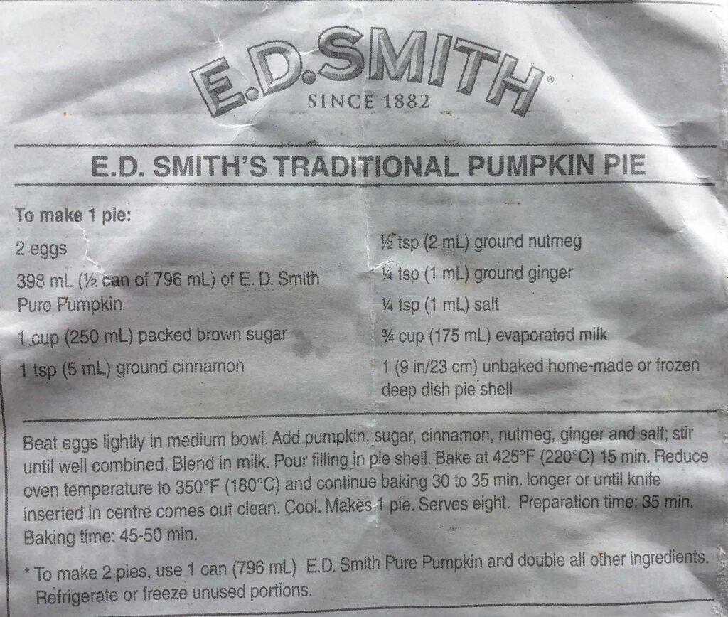 E.D. Smith Pumpkin Pie Recipe English