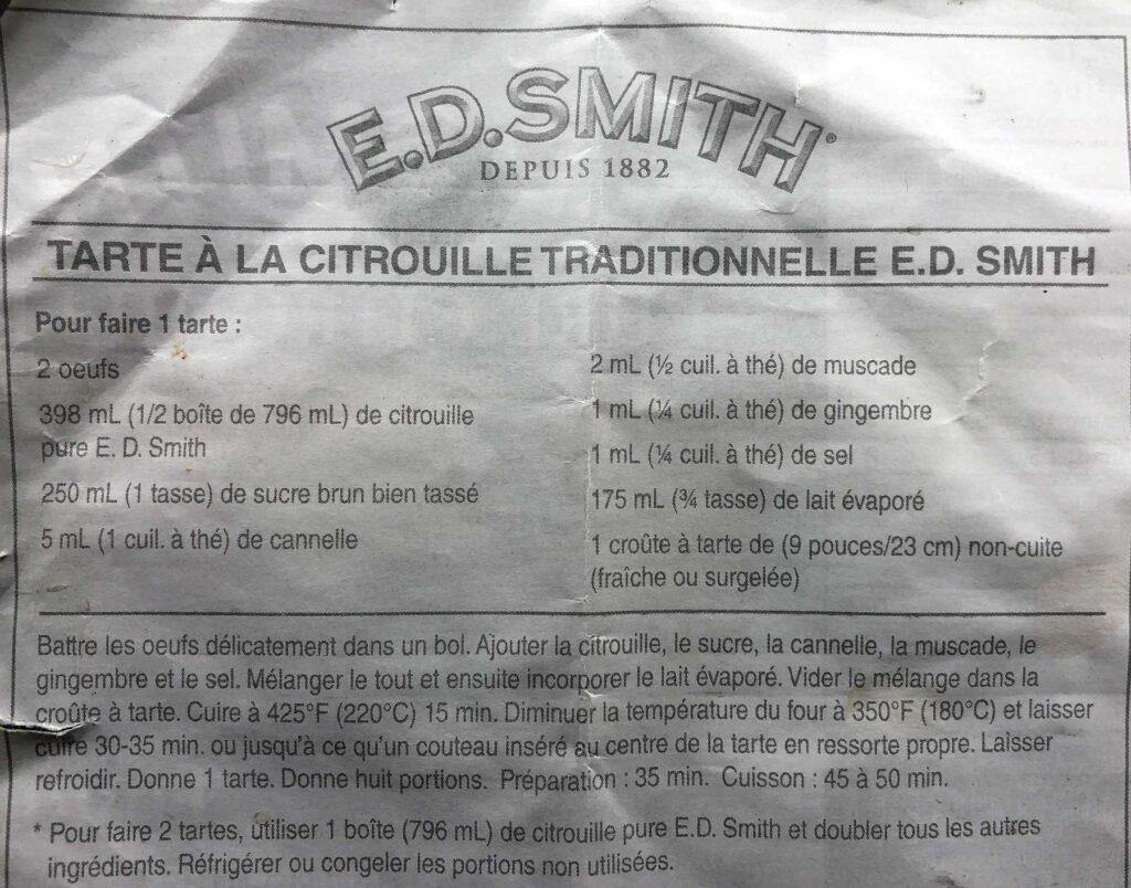 E.D. Smith Pumpkin Pie Recipe French