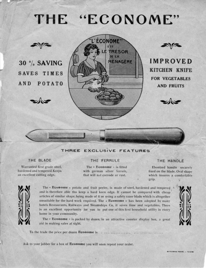 Économe peeler 1930 advertisement