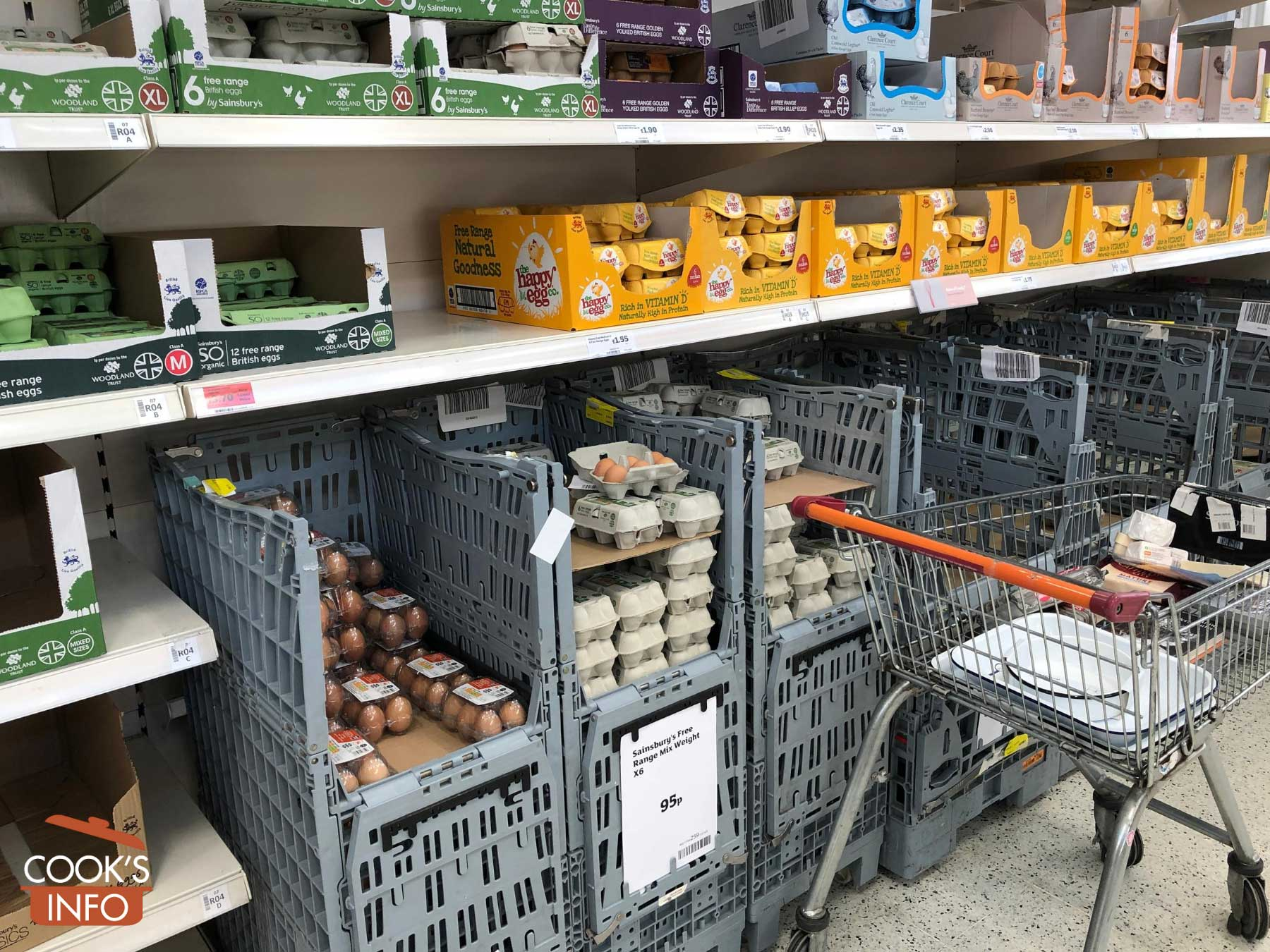 Unrefrigerated eggs in supermarket aisle