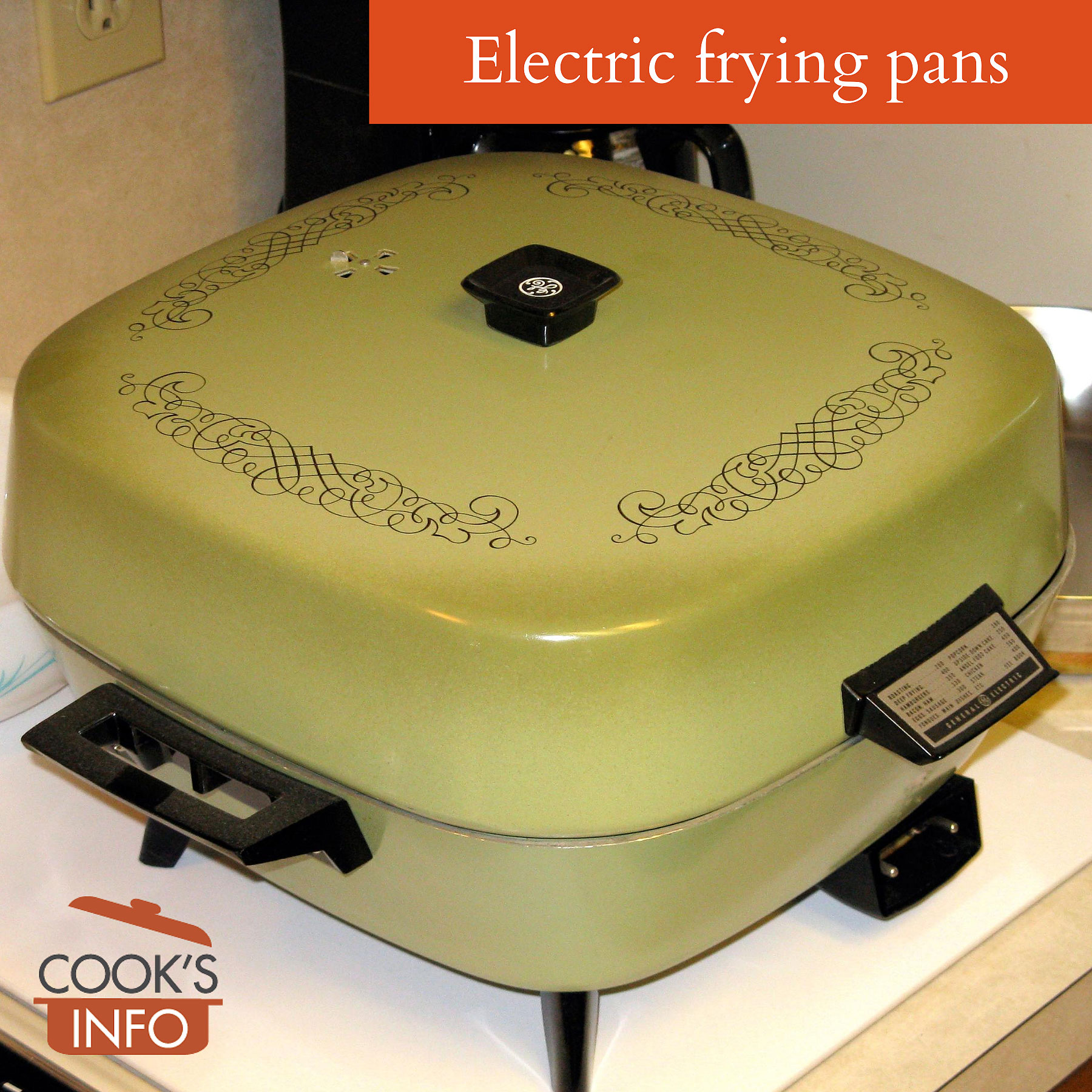 Electric frying pan, 1970s with cover
