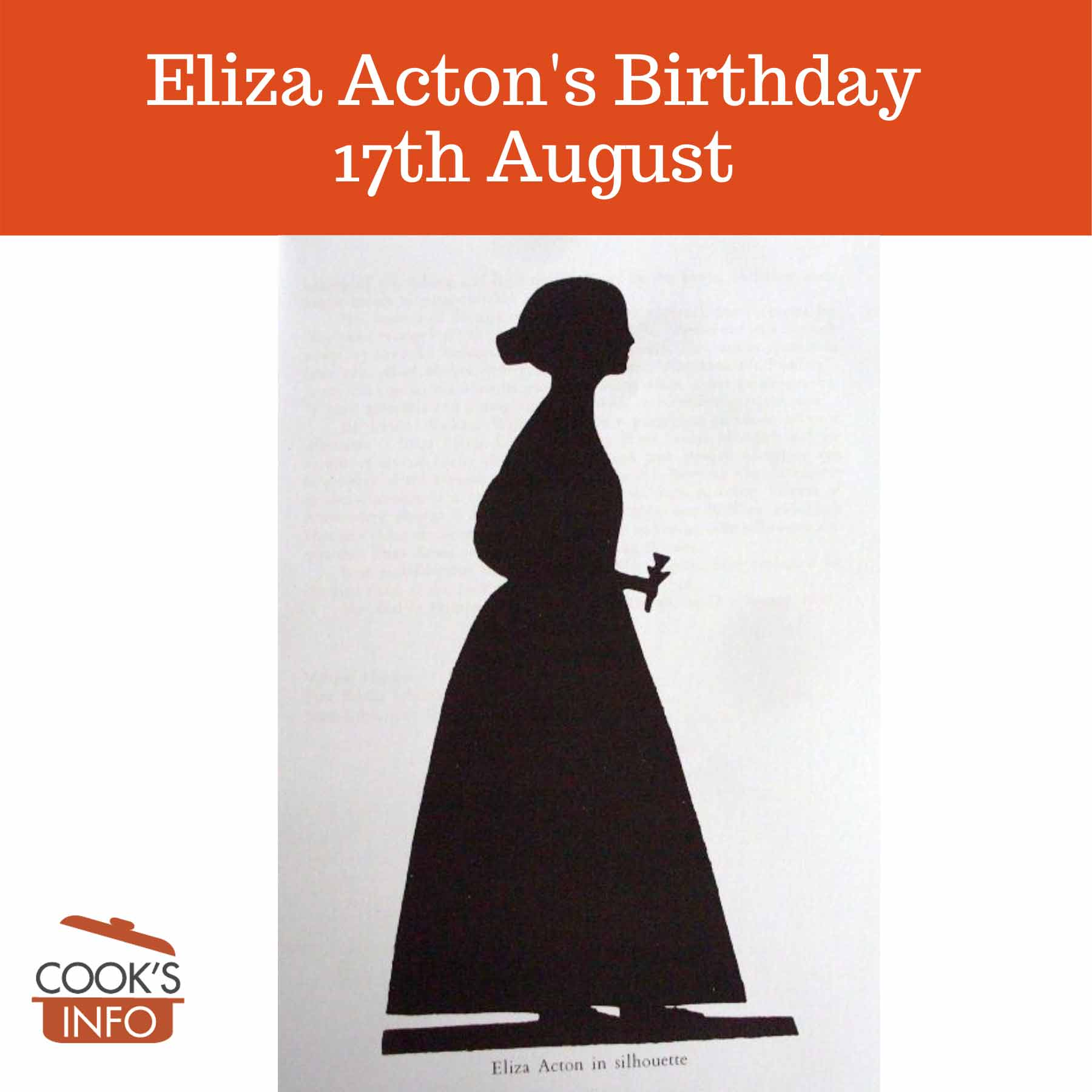 Eliza Acton silhouette (17 April 1799 – 13 February 1859)