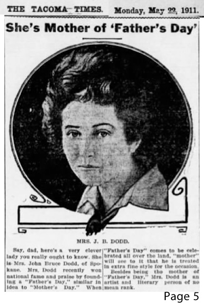 Photo of Sonora Dodd. Tacoma Times. 22 May 1911, p. 5.